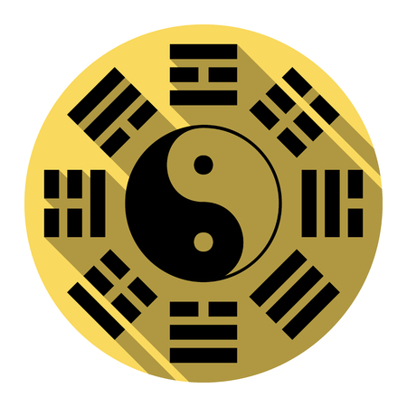 taijitu: Yin and yang sign with bagua arrangement. Vector. Flat black icon with flat shadow on royal yellow circle with white background. Isolated.