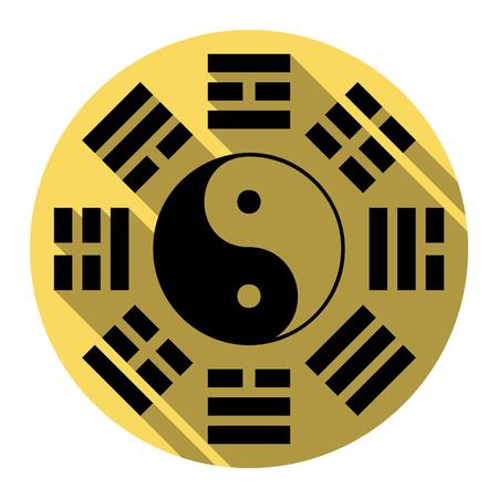 Yin et yang signent avec l'arrangement de bagua. Vecteur. Icône plate noire avec une ombre plane sur un cercle jaune royal avec un fond blanc. Isolé. Vecteurs
