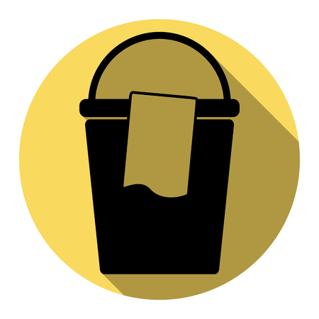cleaning service: Bucket and a rag sign. Vector. Flat black icon with flat shadow on royal yellow circle with white background. Isolated. Illustration