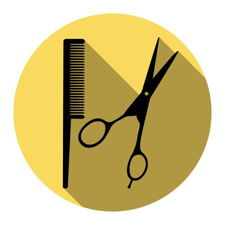 Barber shop sign. Vector. Flat black icon with flat shadow on royal yellow circle with white background. Isolated. Illustration