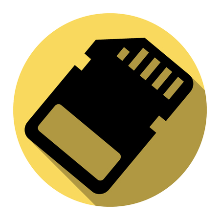 Memory card sign. Vector. Flat black icon with flat shadow on royal yellow circle with white background. Isolated. Illustration