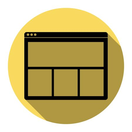 icons site search: Web window sign. Vector. Flat black icon with flat shadow on royal yellow circle with white background. Isolated. Illustration