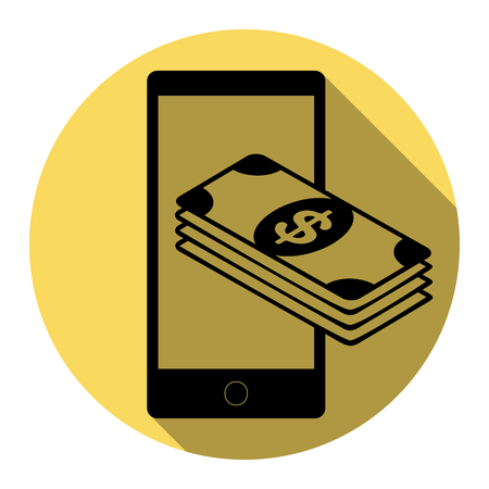 put: Payment, refill your mobile smart phone,. Vector. Flat black icon with flat shadow on royal yellow circle with white background. Isolated. Illustration