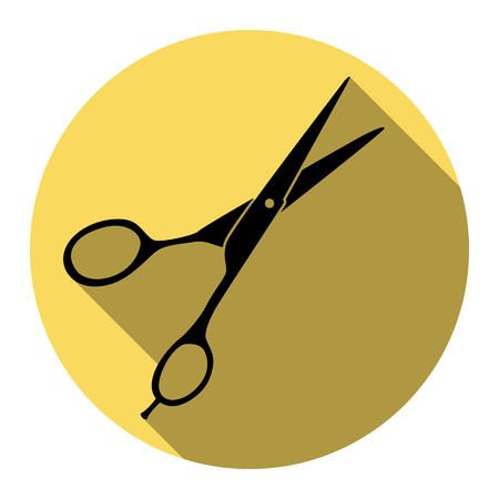 Hair cutting scissors sign. Vector. Flat black icon with flat shadow on royal yellow circle with white background. Isolated.