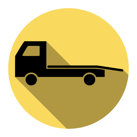 the wrecker: Service of evacuation sign. Wrecking car side. Car evacuator. Vehicle towing. Vector. Flat black icon with flat shadow on royal yellow circle with white background. Isolated.