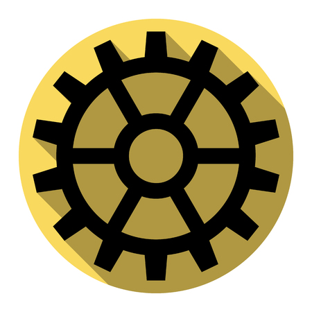 Gear sign. Vector. Flat black icon with flat shadow on royal yellow circle with white background. Isolated.