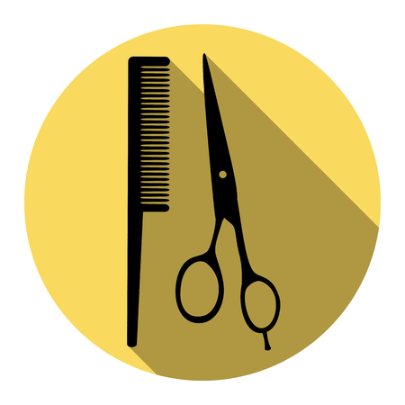 barbershop: Barber shop sign. Vector. Flat black icon with flat shadow on royal yellow circle with white background. Isolated. Illustration