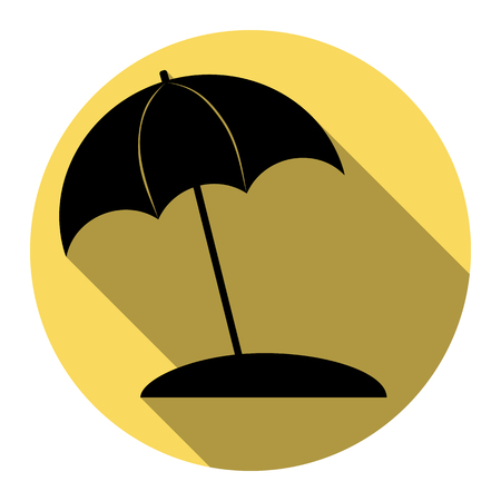 Umbrella and sun lounger sign. Vector. Flat black icon with flat shadow on royal yellow circle with white background. Isolated.