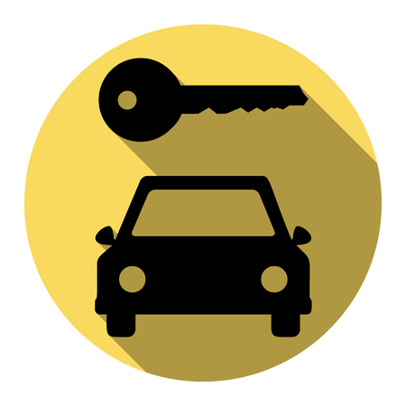 rent index: Car key simplistic sign. Vector. Flat black icon with flat shadow on royal yellow circle with white background. Isolated. Illustration