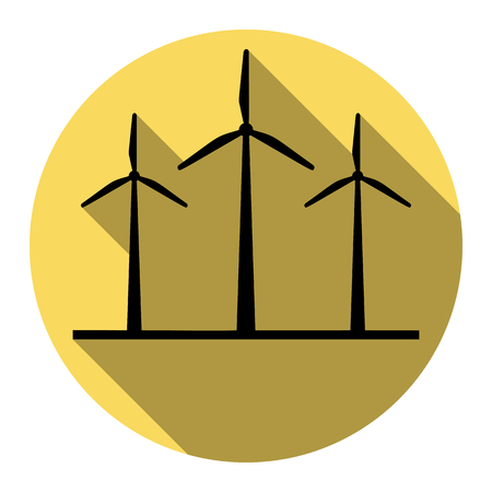 electricity meter: Wind turbines sign. Vector. Flat black icon with flat shadow on royal yellow circle with white background. Isolated.