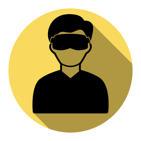 Man with sleeping mask sign. Vector. Flat black icon with flat shadow on royal yellow circle with white background. Isolated. Illustration