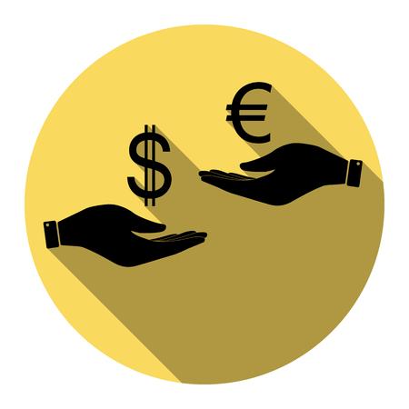 Valutawissel van hand tot hand. Dollar en Euro. Vector. Vlak zwart pictogram met vlakke schaduw op koninklijke gele cirkel met witte achtergrond. Geïsoleerd. Stock Illustratie