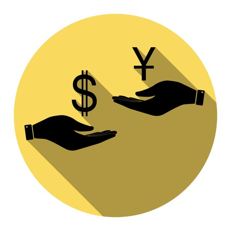 Currency exchange from hand to hand. Dollar and Yuan. Vector. Flat black icon with flat shadow on royal yellow circle with white background. Isolated.