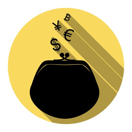 yuan: Wallet sign with currency symbols. Vector. Flat black icon with flat shadow on royal yellow circle with white background. Isolated.