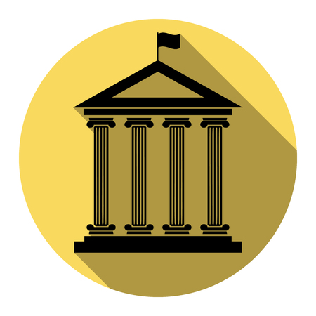 roman pillar: Historical building with flag. Vector. Flat black icon with flat shadow on royal yellow circle with white background. Isolated.