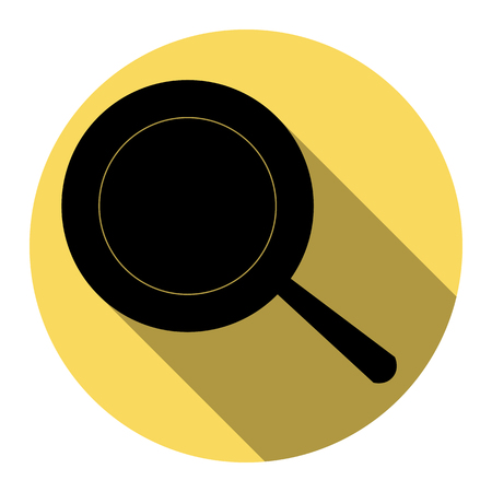 Pan sign. Vector. Flat black icon with flat shadow on royal yellow circle with white background. Isolated.
