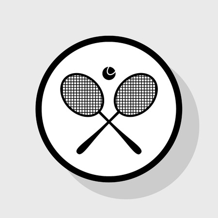 Tennis racket sign. Vector. Flat black icon in white circle with shadow at gray background. Ilustração
