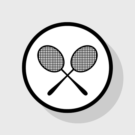 Tennis racquets sign. Vector. Flat black icon in white circle with shadow at gray background. Banco de Imagens - 75944806