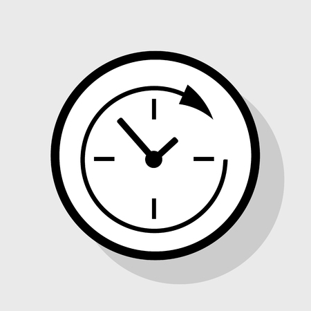 Service and support for customers around the clock and 24 hours. Vector. Flat black icon in white circle with shadow at gray background.