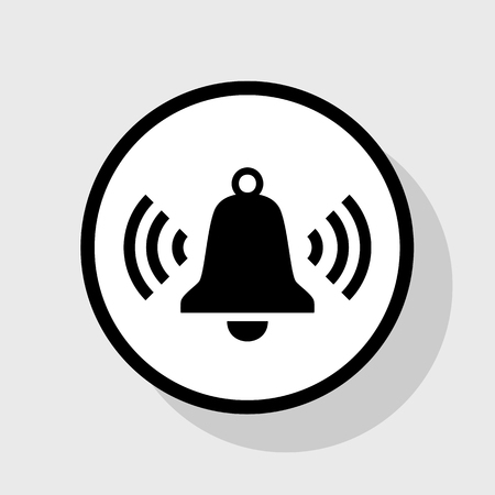 Ringing bell icon. Vector. Flat black icon in white circle with shadow at gray background.