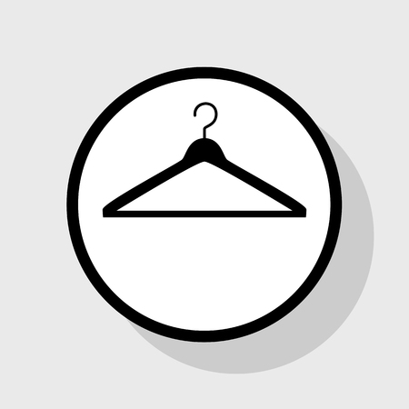 clothing rack: Hanger sign illustration. Vector. Flat black icon in white circle with shadow at gray background. Illustration