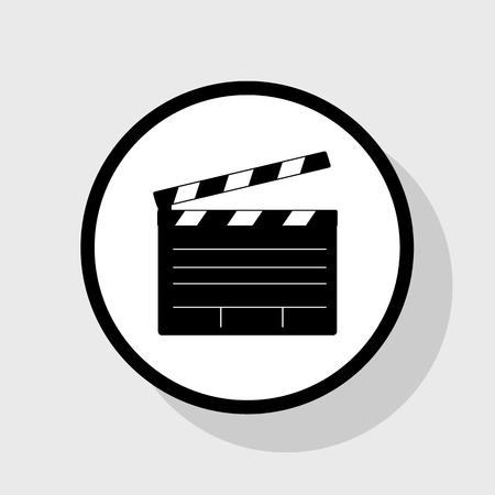 flick: Film clap board cinema sign. Vector. Flat black icon in white circle with shadow at gray background. Illustration