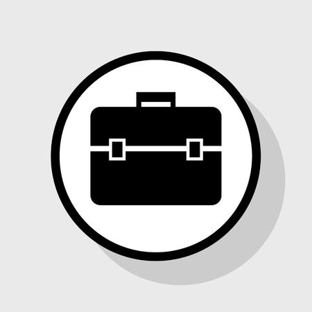 Illustrazione del segno di valigetta. Vettore. Icona piatto nero in cerchio bianco con ombra a sfondo grigio.
