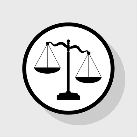 scale icon: Scales of Justice sign. Vector. Flat black icon in white circle with shadow at gray background.