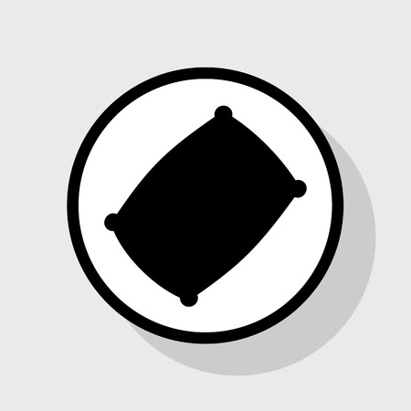 Pillow sign illustration. Vector. Flat black icon in white circle with shadow at gray background. Illustration