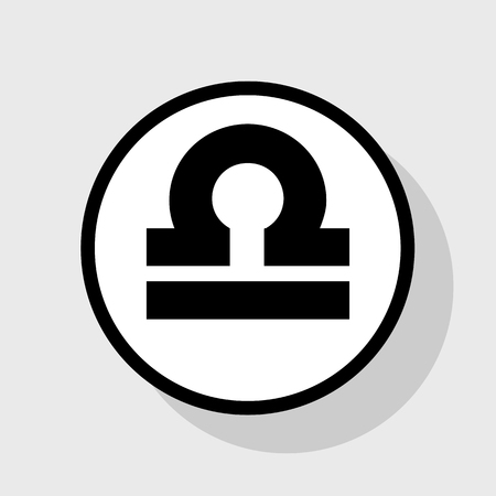 ecliptic: Libra sign illustration. Vector. Flat black icon in white circle with shadow at gray background. Illustration