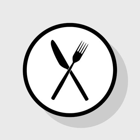 Segno di forchetta e coltello Vettore. Icona piatto nero in cerchio bianco con ombra a sfondo grigio.