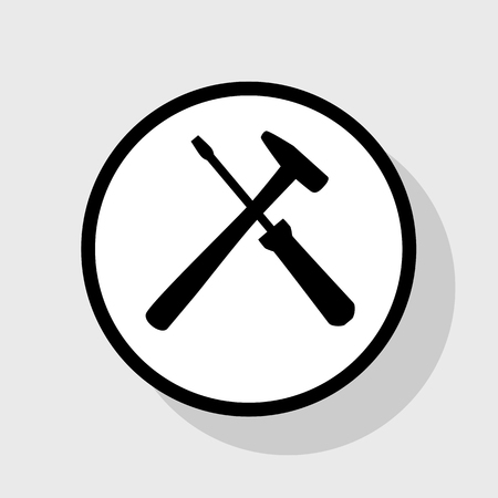 Tools sign illustration. Vector. Flat black icon in white circle with shadow at gray background. Çizim