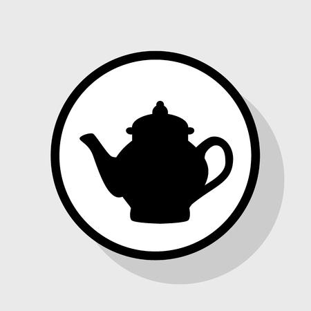 Tea maker sign. Vector. Flat black icon in white circle with shadow at gray background.