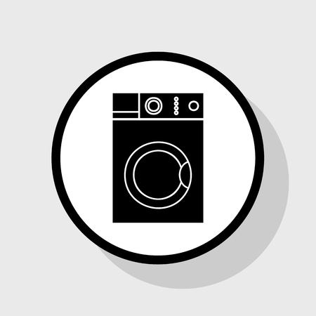 major household appliance: Washing machine sign. Vector. Flat black icon in white circle with shadow at gray background.