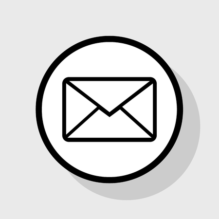 writing on screen: Letter sign illustration. Vector. Flat black icon in white circle with shadow at gray background.