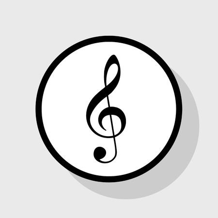 Music violin clef sign. G-clef. Treble clef. Vector. Flat black icon in white circle with shadow at gray background.