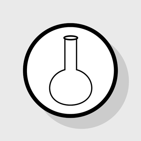 drug discovery: Tube. Laboratory glass sign. Vector. Flat black icon in white circle with shadow at gray background.