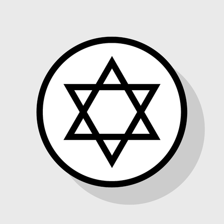 chanukkah: Shield Magen David Star. Symbol of Israel. Vector. Flat black icon in white circle with shadow at gray background.