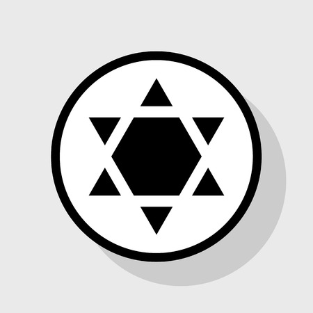 chanukkah: Shield Magen David Star Inverse. Symbol of Israel inverted. Vector. Flat black icon in white circle with shadow at gray background.