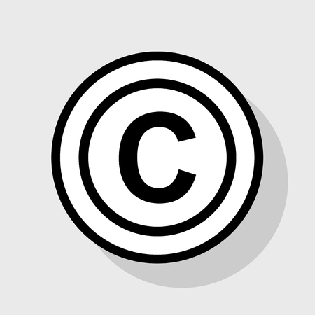 convention: Copyright sign illustration. Vector. Flat black icon in white circle with shadow at gray background.