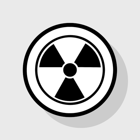 Radiation Round sign. Vector. Flat black icon in white circle with shadow at gray background.