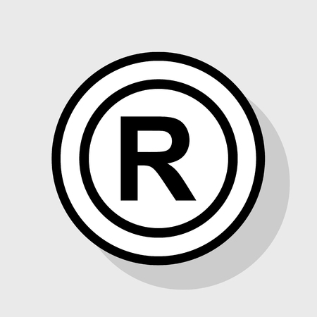 convention: Registered Trademark sign. Vector. Flat black icon in white circle with shadow at gray background.