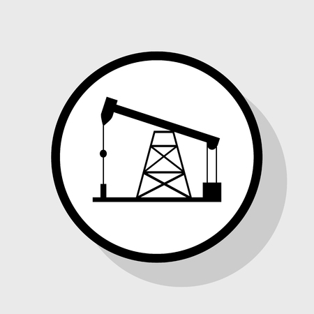 Oil drilling rig sign. Vector. Flat black icon in white circle with shadow at gray background.