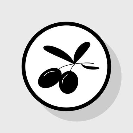 ingradient: Olives sign illustration. Vector. Flat black icon in white circle with shadow at gray background.