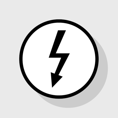 volte: High voltage danger sign. Vector. Flat black icon in white circle with shadow at gray background.