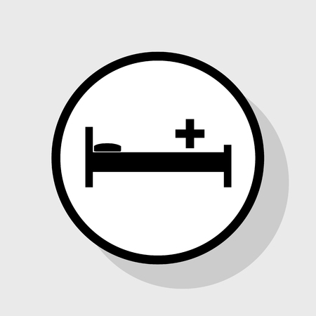 emergency cart: Hospital sign illustration. Vector. Flat black icon in white circle with shadow at gray background. Illustration