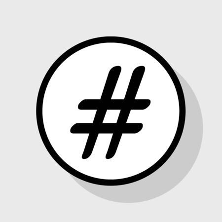 microblogging: Hashtag sign illustration. Vector. Flat black icon in white circle with shadow at gray background.