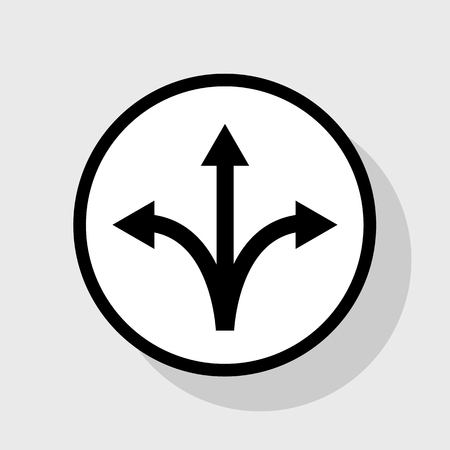 Three-way direction arrow sign. Vector. Flat black icon in white circle with shadow at gray background. Illustration