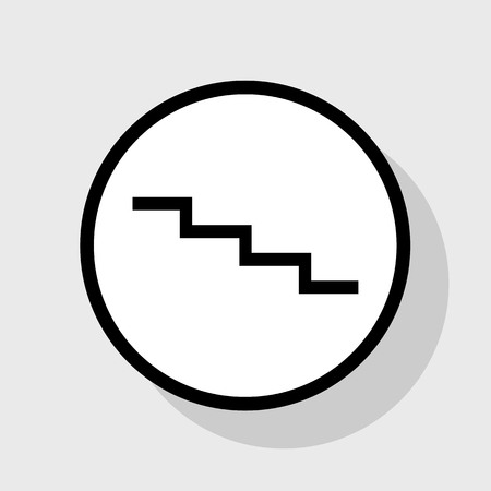 Stair down sign. Vector. Flat black icon in white circle with shadow at gray background. Illustration