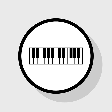 Piano Keyboard sign. Vector. Flat black icon in white circle with shadow at gray background.